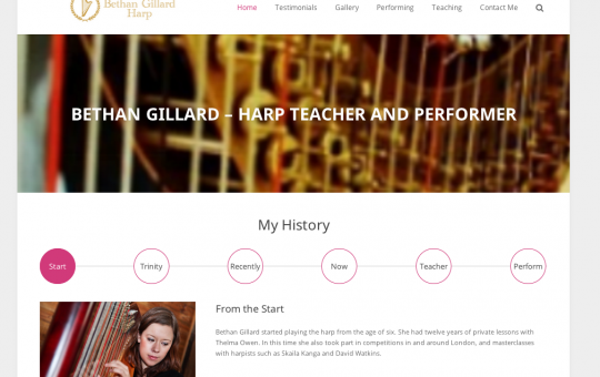 Harpist based in London - Bethan Gillard harp